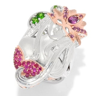 Michael Valitutti Palladium Silver Ruby Rhodolite & Chrome Diopside Masked Lady Ring.