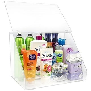Sorbus Makeup Organizer Display Case & Palette Holder with Slanted Front Open Lid - Clear