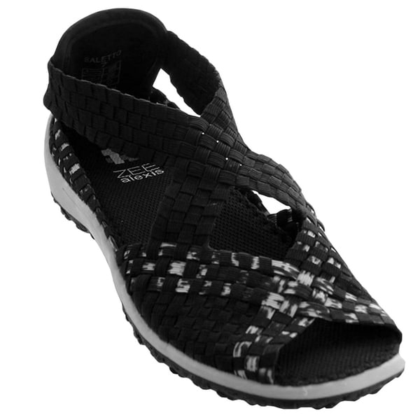 dc9cadc60 Shop Zee Alexis Women's Saletto Woven Sandal Black White - Free Shipping  Today - Overstock - 21497392