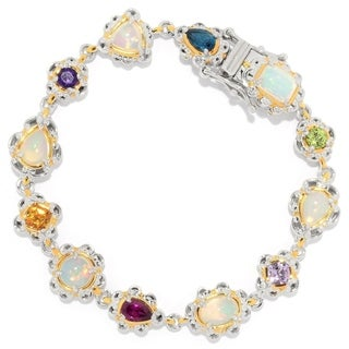 Michael Valitutti Palladium Silver Ethiopian Opal and Multi Gemstone Tennis Bracelet