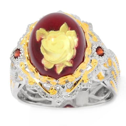 Gems en Vogue Palladium Silver Amber Carved Flower Intaglio & Gemstone Ring