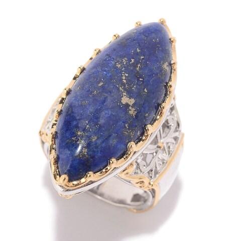 Michael Valitutti Palladium Silver Marquise Shaped Lapis Lazuli Elongated Ring.