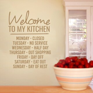 Welcome To My Kitchen Wall Decal 22-inch wide x 30-inch tall in Silver (As Is Item)