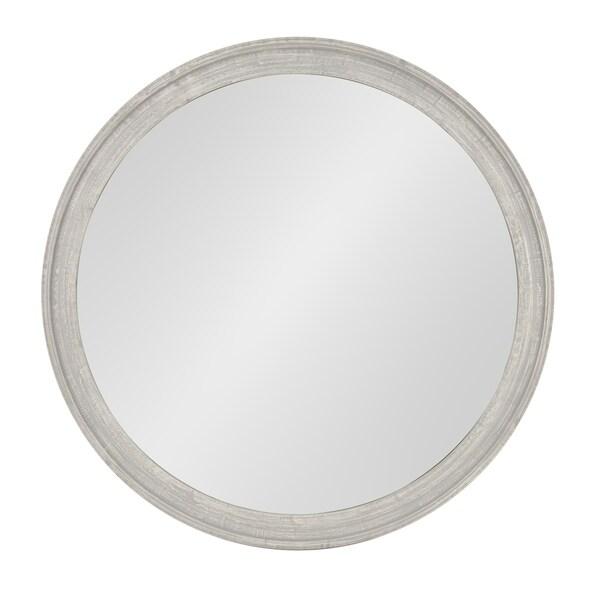 Man Round Wooden Wall Mirror 28 Inch Diameter Distressed Gray