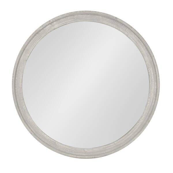 Man Round Wooden Wall Mirror 28 Inch Diameter