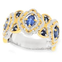Michael Valitutti Palladium Silver Oval & Round Blue Sapphire Band Ring