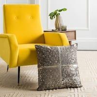 Safavieh Cami Metallic Grey/ Silver Cowhide 20-inch Decorative Pillow