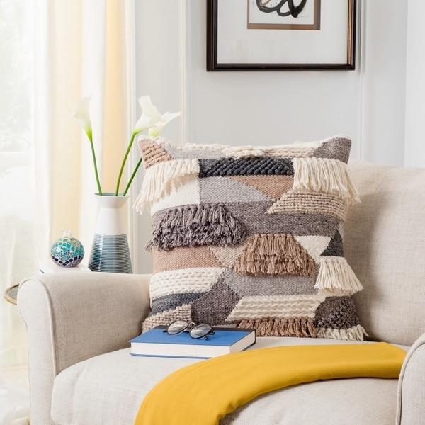Safavieh Honor Geo Wool Fringe 20-inch Decorative Pillow
