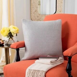 Safavieh Tickled Grey Knit Cotton 20-inch Decorative Pillow