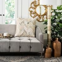 Safavieh Metallic Herringbone White/ Gold Cowhide 22-inch Pillow