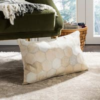 Safavieh Tiled Hexagon White/ Tan Cowhide 12 x 20-inch Pillow