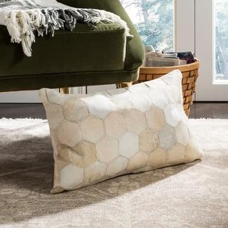 Safavieh Tiled Hexagon White/ Tan Cowhide 12 x 20-inch Decorative Pillow
