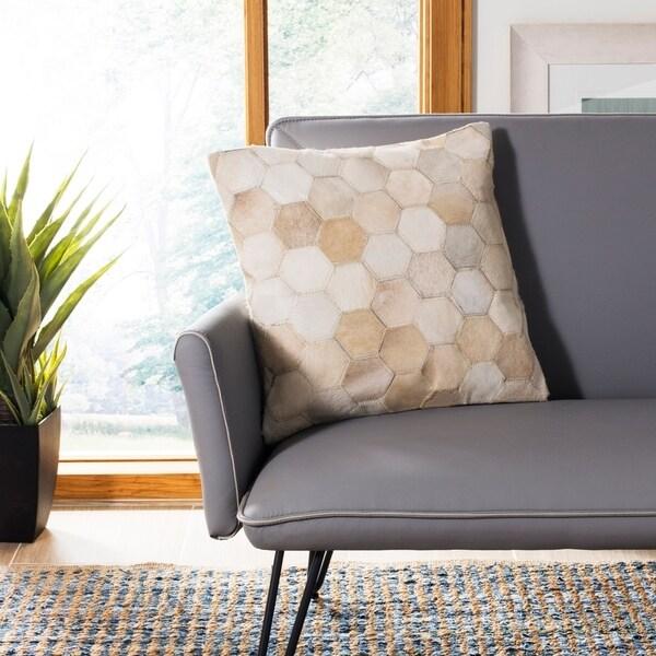 Safavieh Tiled Hexagon White/ Tan Cowhide 22-inch Decorative Pillow