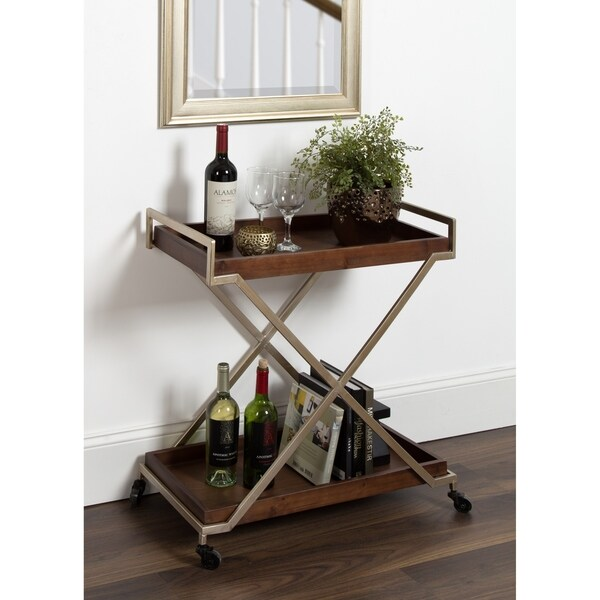 Parmer Kitchen and Bar Cart, Walnut Brown Finish, Champagne Gold Frame