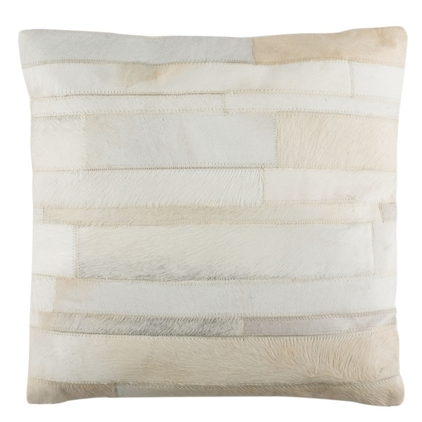 Safavieh Ruled Cowhide White/ Cream 18-inch Decorative Pillow