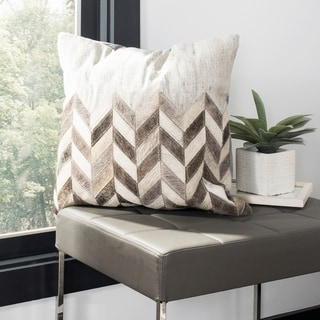 Safavieh Karson Chevron Grey Cowhide 20-inch Decorative Pillow