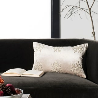 Safavieh Sydnee Snowflake Beige/ Silver 12 x 20-inch Decorative Pillow
