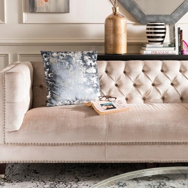 Safavieh Edmee Metallic Blue 20-inch Decorative Pillow