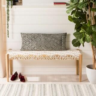Safavieh Lila Traditional Ornate Grey Rectangle 14 x 30-inch Decorative Pillow