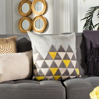 Safavieh Perris Mod Grey Cowhide 20-inch Decorative Pillow