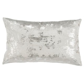 Safavieh Edmee Grey/ Silver Metallic 12 x 20-inch Decorative Pillow
