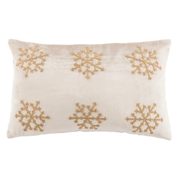 Safavieh Sydnee Snowflake Beige/ Gold 12 x 20-inch Decorative Pillow