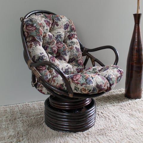 International Caravan Bali Swivel Rocker with Tapestry Cushion