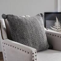 Safavieh Pom Pom Knit Cotton Grey 20-inch Pillow