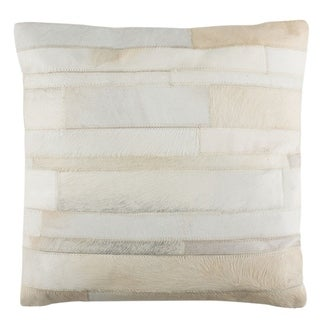 Safavieh Ruled Cowhide White/ Gold 22-inch Decorative Pillow