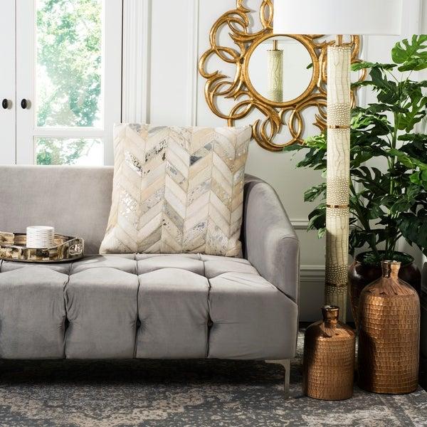 Safavieh Metallic Herringbone White/ Gold Cowhide 18-inch Decorative Pillow