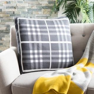 Safavieh Unity Gingham Knit Cotton Grey 20-inch Decorative Pillow