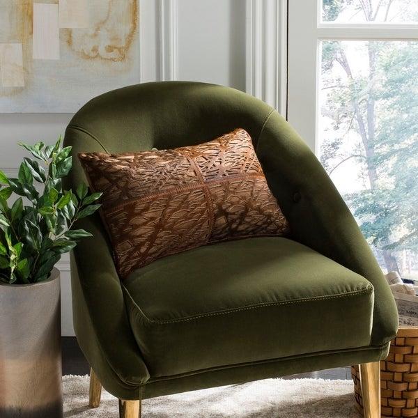 Safavieh Eccentric Tan Brown Cowhide 12 x 20-inch Decorative Pillow