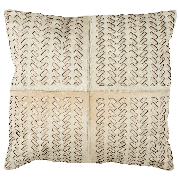 Safavieh Dash Geometric Cream Cowhide 18-inch Decorative Pillow