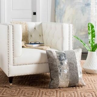 Safavieh Blair Metallic Cowhide Grey/ Silver 20-inch Decorative Pillow