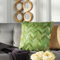 Safavieh Ezla Metallic Green/ Gold Cowhide 20-inch Decorative Pillow