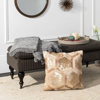 Safavieh Maggie Metallic Beige/ Gold Cowhide 20-inch Decorative Pillow