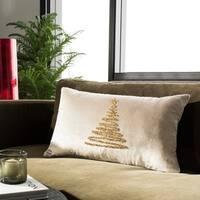 Safavieh Enchanted Evergreen Tree Beige/ Gold 12 x 20-inch Pillow