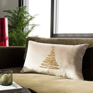 Safavieh Enchanted Evergreen Tree Beige/ Gold 12 x 20-inch Pillow