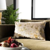 Safavieh Edmee Beige/ Gold Metallic 12 x 20-inch Decorative Pillow