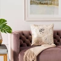 Safavieh Maggie Metallic White/ Silver Cowhide 20-inch Pillow