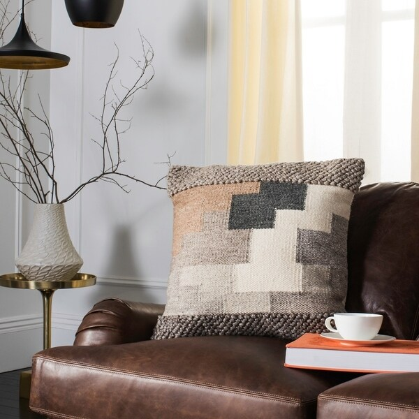 Safavieh Karlie Tribal Wool and Cotton 20-inch Pillow. Opens flyout.