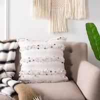 Safavieh Collette Fringe Sequin White 20-inch Pillow