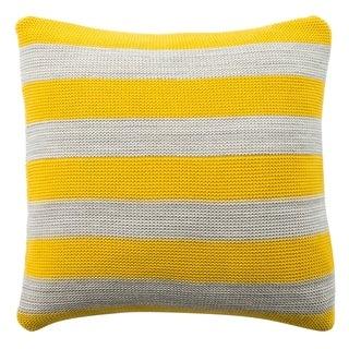 Safavieh Sun Kissed Knit Cotton Yellow/ Grey Stripe 20-inch Decorative Pillow