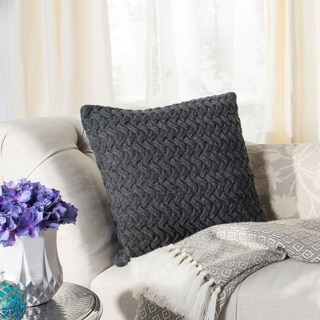 Safavieh Affinity Knit Cotton Grey 20-inch Decorative Pillow