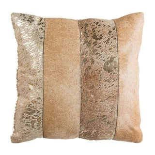 Safavieh Blair Metallic Beige/ Gold Cowhide 20-inch Decorative Pillow