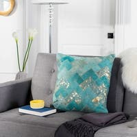 Safavieh Ezla Metallic Turquoise/ Gold Cowhide 20-inch Pillow