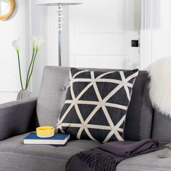 Safavieh Viola Grey/ White Cowhide 20-inch Decorative Pillow