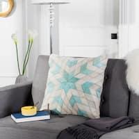 Safavieh Silus Star Teal/ Grey Cowhide 20-inch Pillow