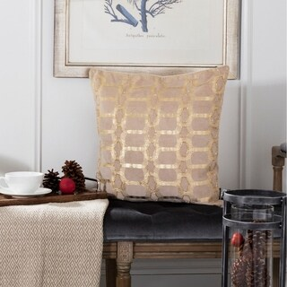 Safavieh Adalie Beaded Chain Link Beige/ Gold 20-inch Decorative Pillow