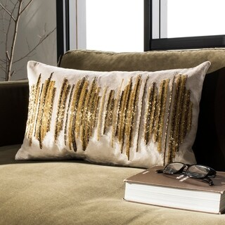 Safavieh Deston Darling Boho Sequin Beige/ Gold 12 x 20-inch Decorative Pillow